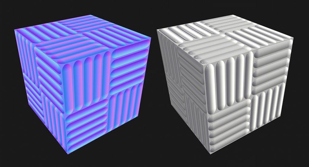 Influencia de un mapa normal en la superficie de un cubo