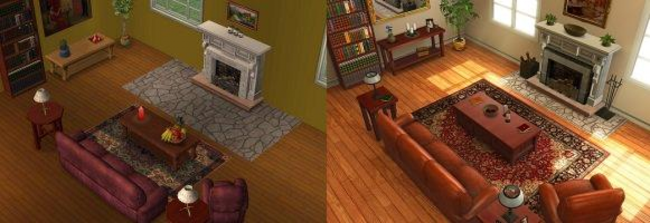[02/06/08] The Sims 3: Old vs. New</b>: The improved lighting is one of the most remarkable changes. (Source: <a href=