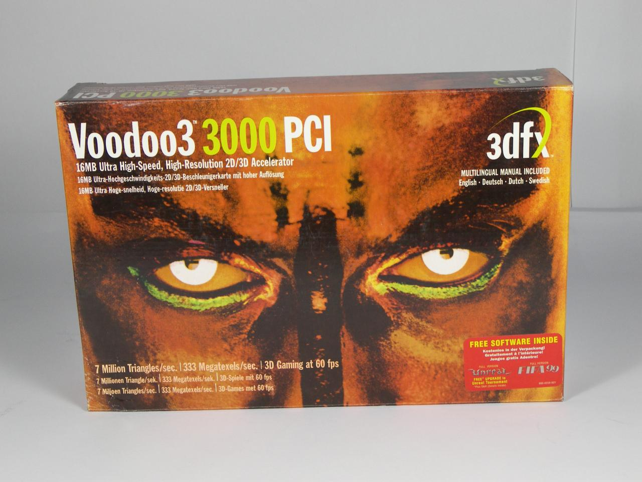 [03/09/08] A graphics card normally comes in a box. Those packages often have an impressive design in order to attract customers' attention. PCGH presents some real classics. Among them: The Voodoo 5 and the Matrox G200. - 3dfx Voodoo 3 3000
