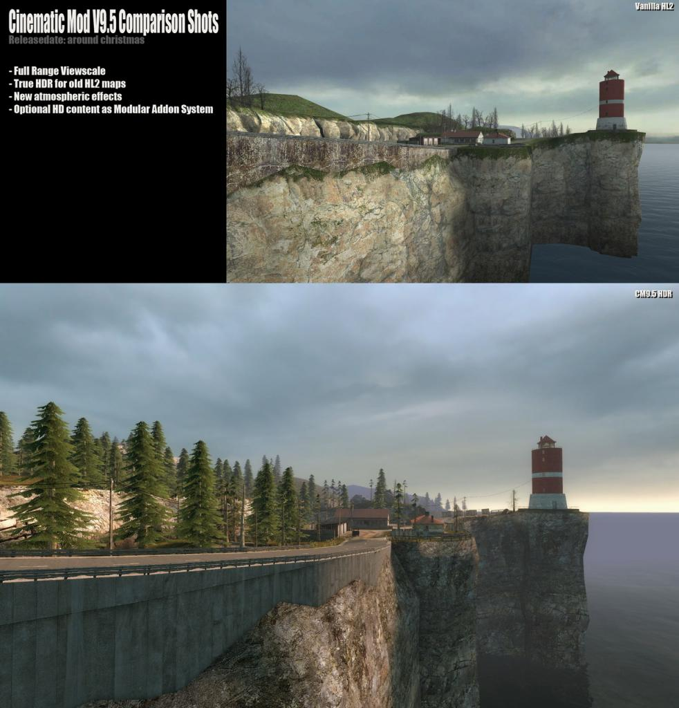 [22/11/08] HL2 texture mod Cinematic Mod 9.5: Comparison shots to original graphics of Half-Life 2 (Picture: Fakefactory) (1)