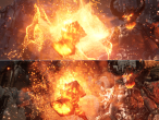 Unreal Engine 4 Elemental-Demo: PC oben, PS4 unten