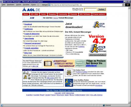 Die Website des AOL Instant-Messengers.