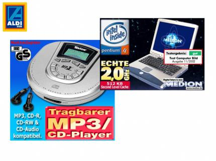 Aldi: P4-Notebook und MP3-CD-Player