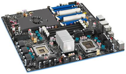 Just like Intel's Skulltrail platform (picture), the new X58 boards will support Nvidia's SLI.