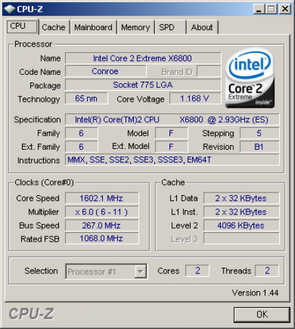 Das Info-Tool CPU-Z in Version 1.44