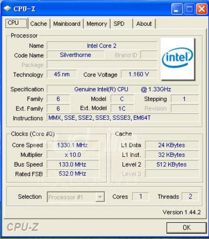 Intel Atom: Silverthone mit 1,33 GHz