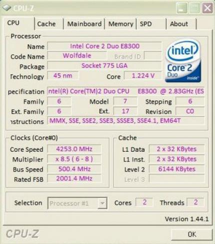 Intel Core 2 Duo E8300: CPU-Z Screenshot eines Testmusters im OC-Test (Bild: xtreview)