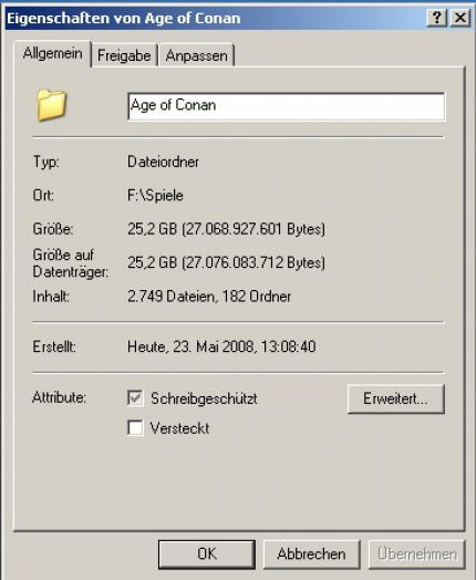 Age of Conan: The game folder was over 25 GB big – and we hadn't started the game yet.