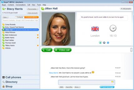 The user interface of the Skype 4.0 beta.