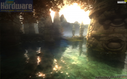 "Screenshot from the alleged Far Cry 2 demo, which in fact is the ""Azure Temple"", the winner of a Quest 3D competition of 2006."
