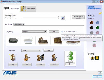 The Realktek HD Audio Manager offers many settings and options