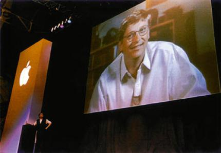 Steve Jobs and Bill Gates announce the financial support, which increases the value of Apple shares by about 45 percent. (picture: terra.com.br)