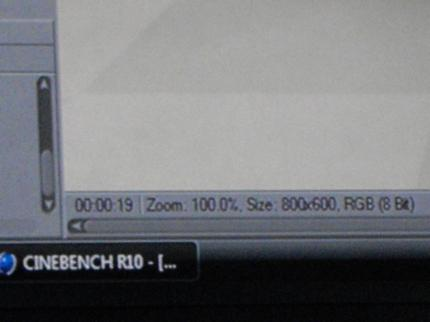 Intels Nehalem reaches 19 seconds and 45,000 points in Cinebench R10 (picture: PCGH)