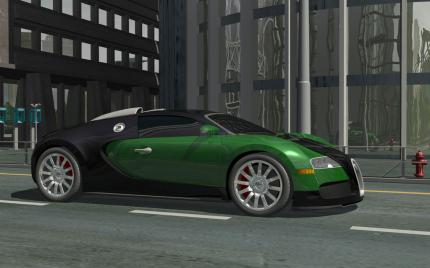 Real-time Ray traced Bugatti Veyron with reflected reflections, adaptive FSAA and realistic shadows.