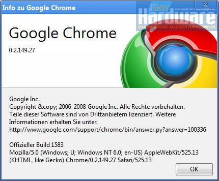 Die aktuelle Chrome-Version lautet 0.2.149.27.