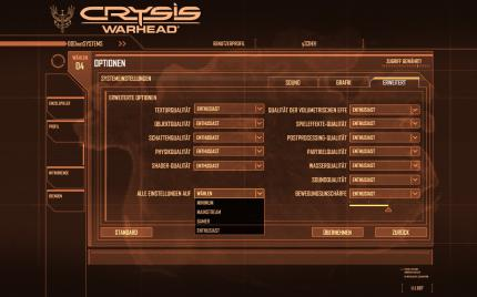 Crysis Warhead: The new 'old' menu.