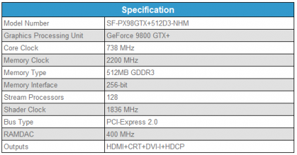 Technical specifications of the SF-PX98GTX+512D3-NHM.