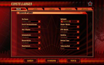 Command and Conquer - Alarmstufe Rot 3: The graphics menu