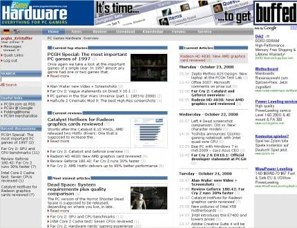 The new design of www.pcgameshardware.com with an upgraded login area, useful links and slight visual enhancements.