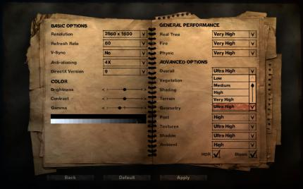 Far Cry 2: The graphics options