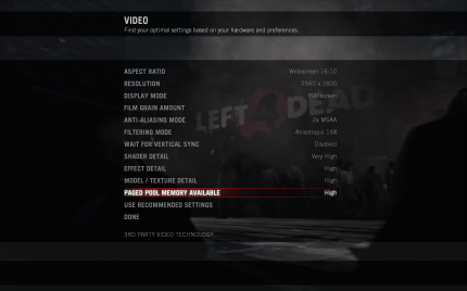 Left 4 Dead: The video options