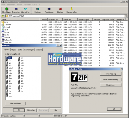 The file manager of 7-Zip with all the supported file formats. (picture: PCGH)