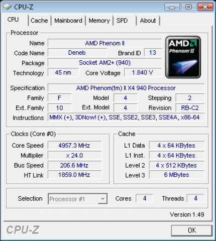Phenom II at 4.957 GHz.