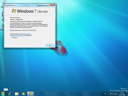 Ein Screenshot aus Windows 7 Ultimate Build 7000