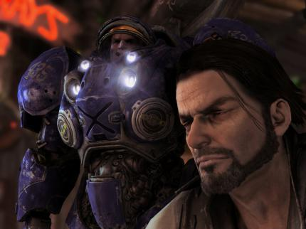 In-game screenshot of Starcraft II (Story Mode)