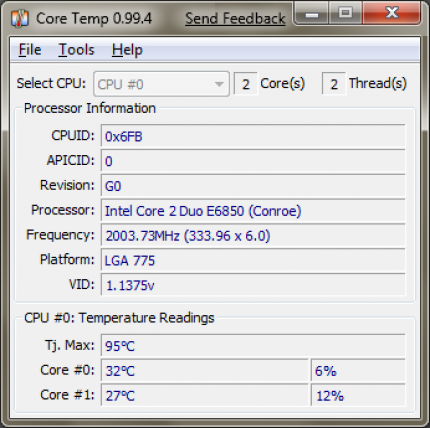 Core Temp 0.99.4 is Windows 7 ready (picture: Source)