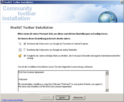 Screenshot der Installation: StudiVZ-Toolbar mit Backdoor