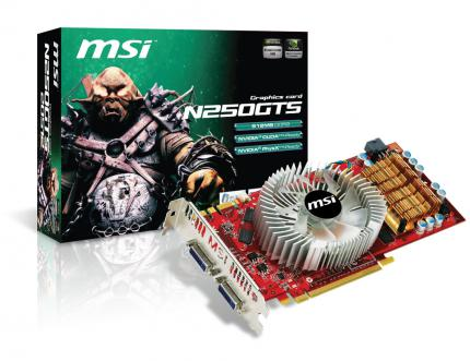 MSI N250GTS-2D512: Geforce GTS 250 based graphics card with 512 MiByte VRAM