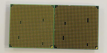 AMD Socket AM2+ vs. AMD Socket AM3: Processors for the Socket AM2+ (left) have two more pins than processors for the Socket AM3 (right).