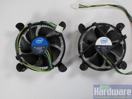 Lynnfield reviewed: Cooler comparison: Core i5 (left) and Core 2 (right)