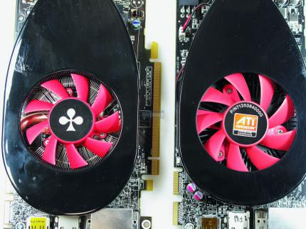 Radeon HD 5770 stock cooler new (left) and HD 5750 version (right) compared