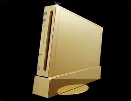 Nintendo Wii Supreme: A gaming console made of gold and diamonds by Stuart Hughes.