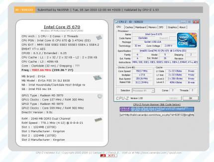 CPU-Z: Core i5-670with more than 7 GHz