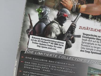 Splinter Cell Conviction: Collector' Edition (known issues sticker on the German retail version)