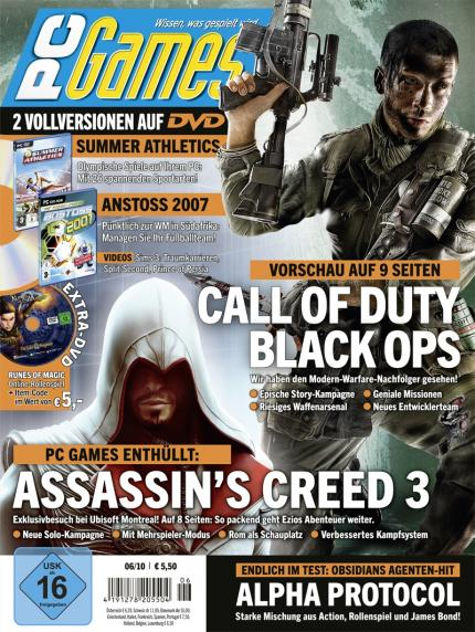 Die neue PC Games 06/10 mit den Titelstories Call of Duty: Black Ops und Assassin's Creed: Brotherhood.
