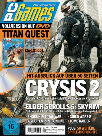 Die PC Games 02/11 mit Titelthema Crysis 2 und Top-Vollversion Titan Quest.