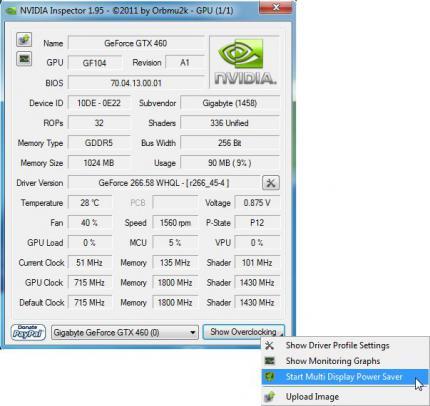 Nvidia Inspector: Stromverbrauch im Multi-Monitoring-Betrieb