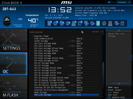 UEFI: Spannungen Core i7-4790 (Haswell Refresh)