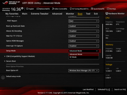 Asus Maximus 8 Hero   Advanced Mode umschalten