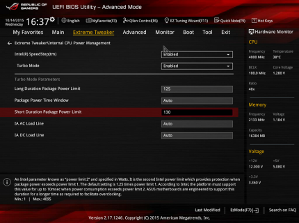 Asus Maximus 8 Hero   Power Limit