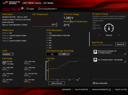 Asus Maximus 8 Hero   UEFI EZ Mode