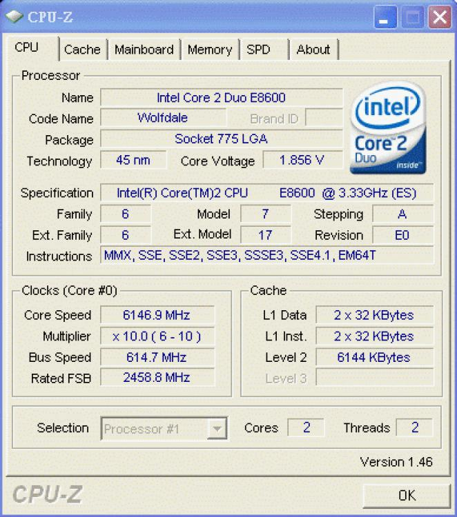 The CPU-Z screenshot of a Core 2 Duo E8600 - heavily overclocked (picture: coolaler.com)