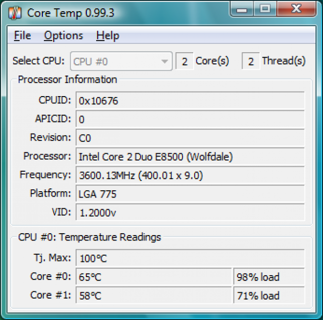 Core Temp 0.99.3 with improved temperature cognition for Penryn based Core 2 Duo and Core 2 Quad.