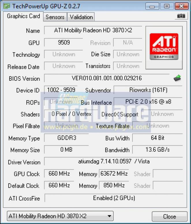 Cizmo AX17: Radeon Mobility HD 3870 X2 (picture: PCGH)