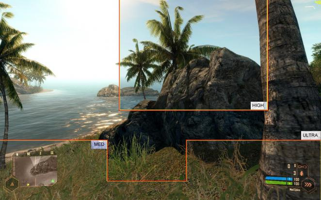 Crysis Warhead: Configs compared (picture: Crymod)
