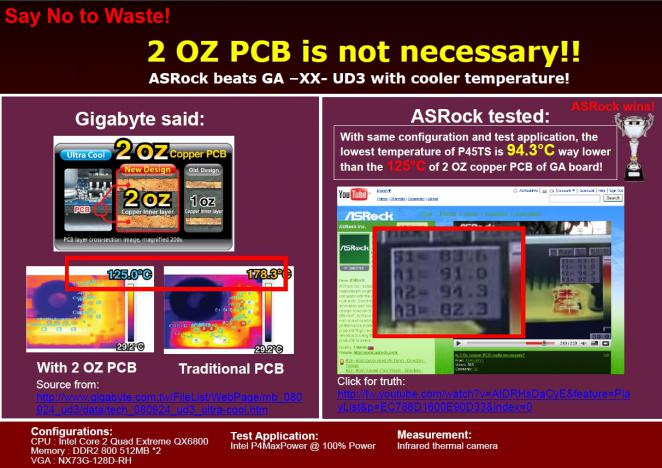 From the Asrock presentation: Asrock's P45TS is said to be cooler than Gigabyte's new EP45-UD3P. (picture: Asrock)
